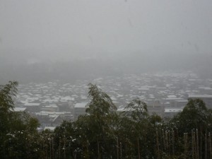 元旦、雪化粧をした金沢市内